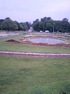 服部緑地公園 円形花壇、バラ園